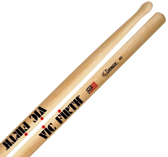 Baqueta Vic Firth Corpsmaster MS3 Snare Sticks Padrão 2B Maior (10290) Estudo ou Tocar com mais Peso