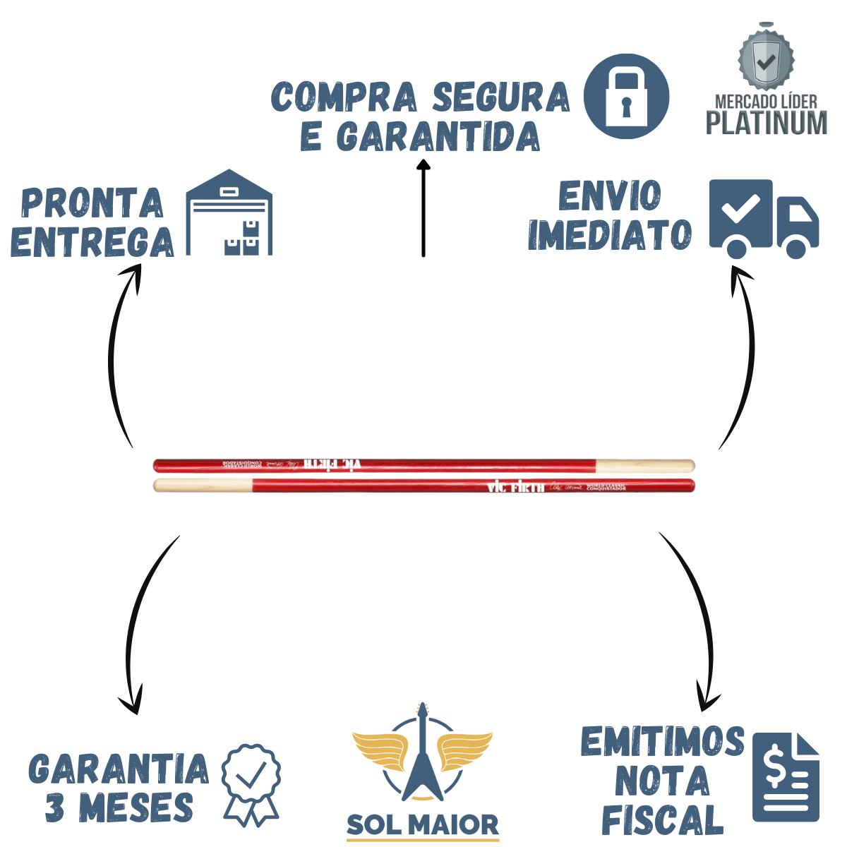 Baqueta Vic Firth Signature Alex Acuña Conquistador Sem Ponta