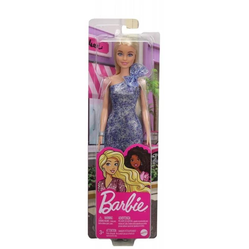 Boneca Barbie Glitter Loira Vestido Azul T7580 Mattel