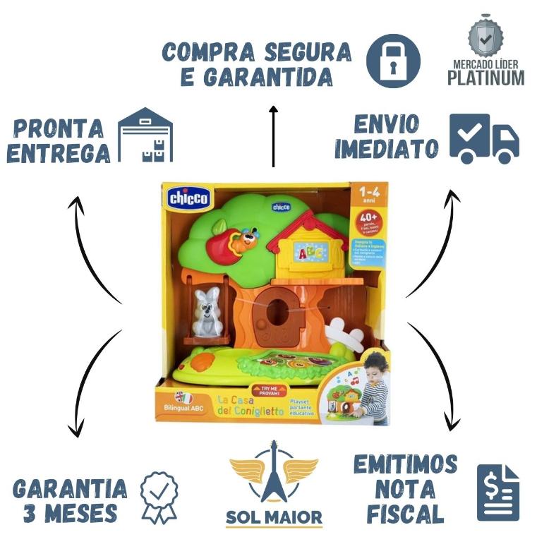 Brinquedo Educativo Bilíngue Musical A Casa Do Coelho Chicco