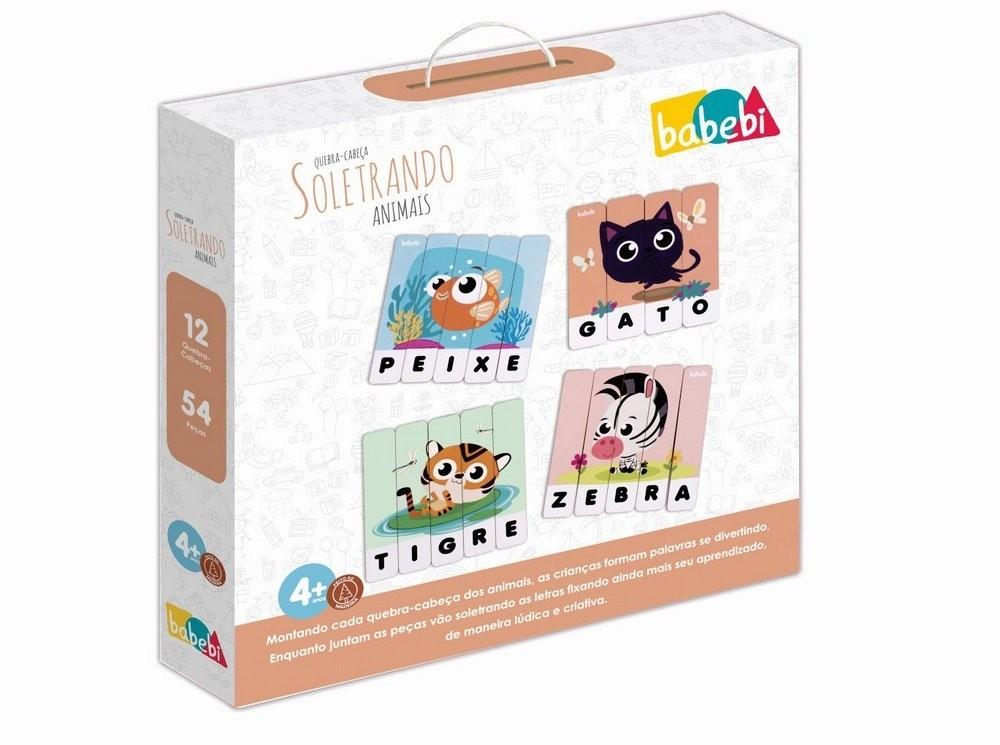 Brinquedo Educativo Quebra-Cabeças Soletrando Animais Babebi