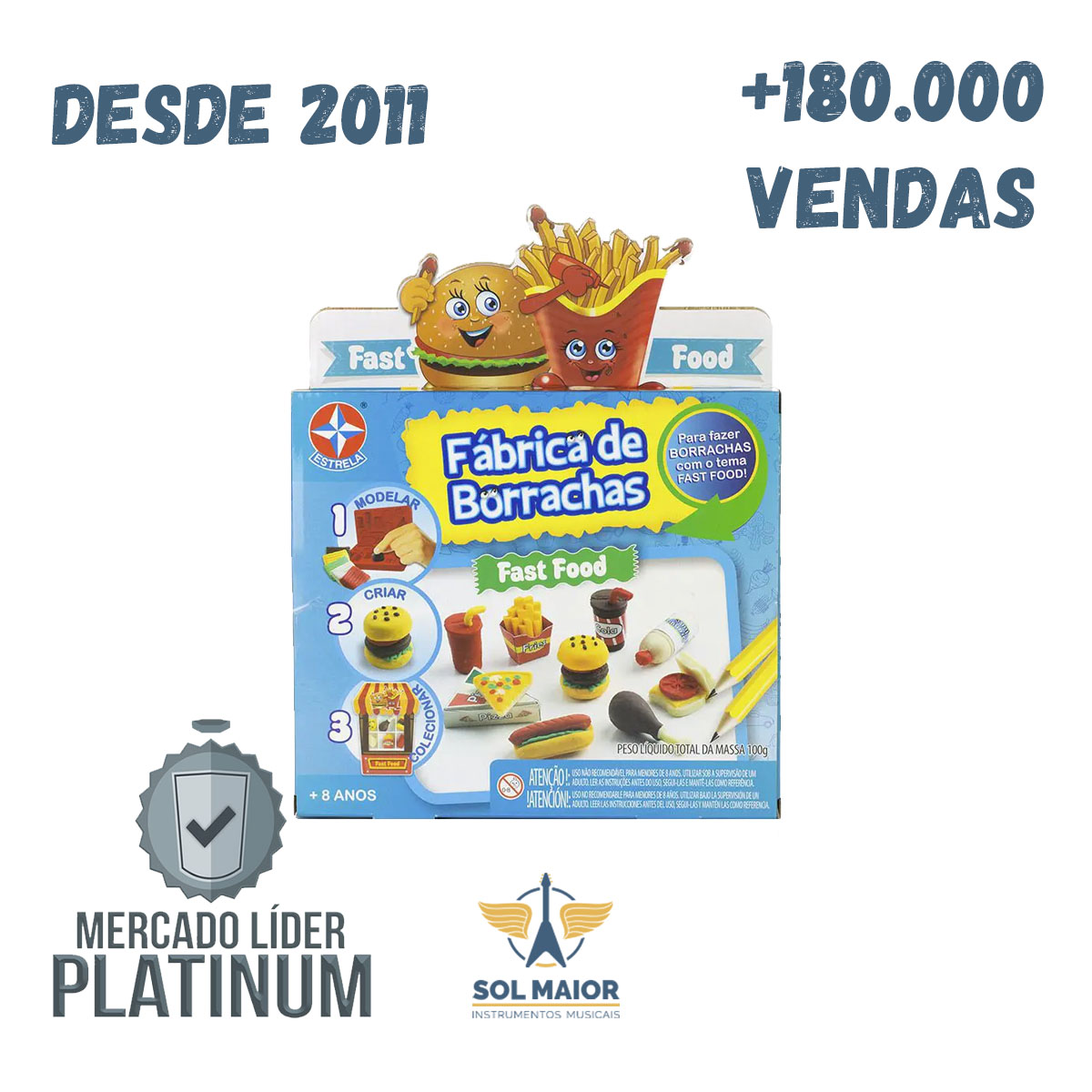 Brinquedo Infantil Fabrica De Borrachas Fast Food - Estrela