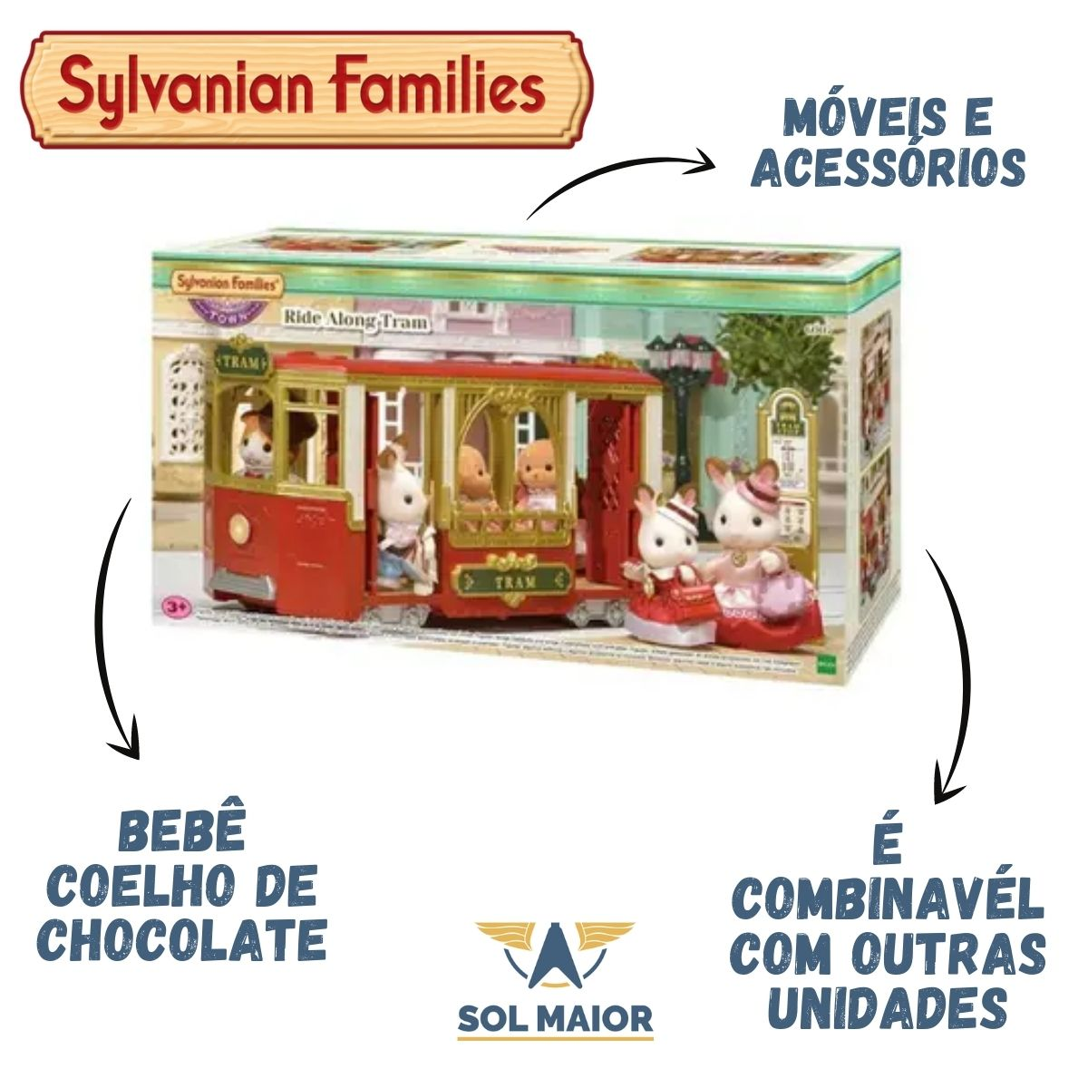 Brinquedo Serie Town Sylvanian Families Passeio Bonde 6007