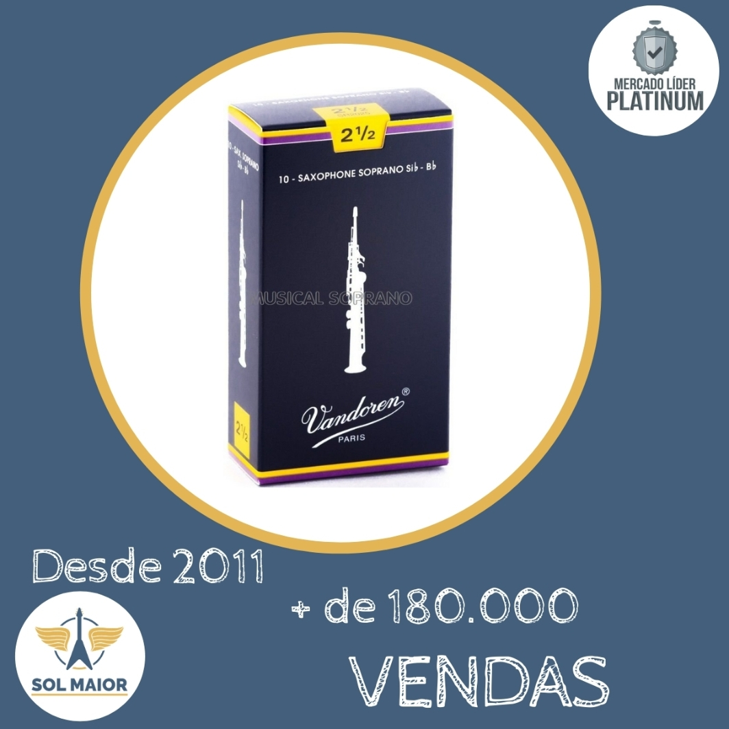 Caixa Palheta Vandoren Tradicional 2,5 Sax Soprano 10 Un