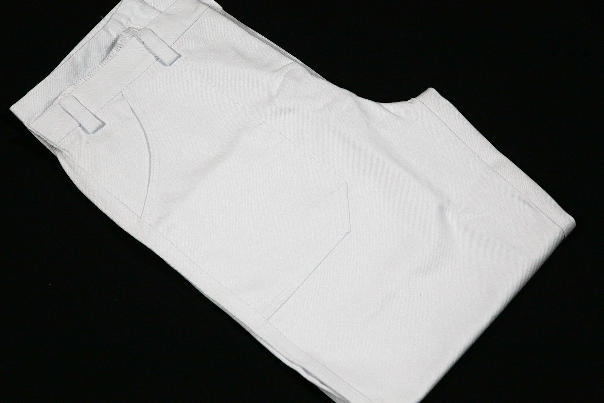 Calça De Brim Meio Elástico C/ Bolsos Frontais e Traseiros Laser Trabalho.