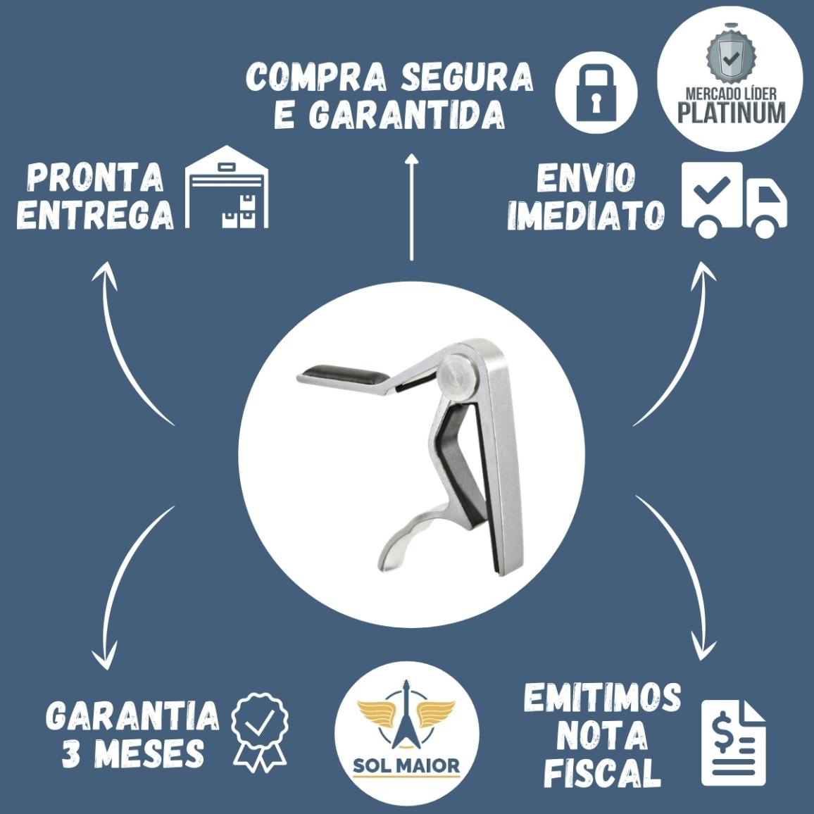 Capotraste Braçadeira Delrin Violão Aço Dolphin Metal Prata