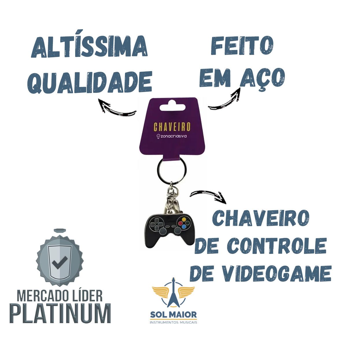 Chaveiro Geek Controle de Video Game - Zona Criativa