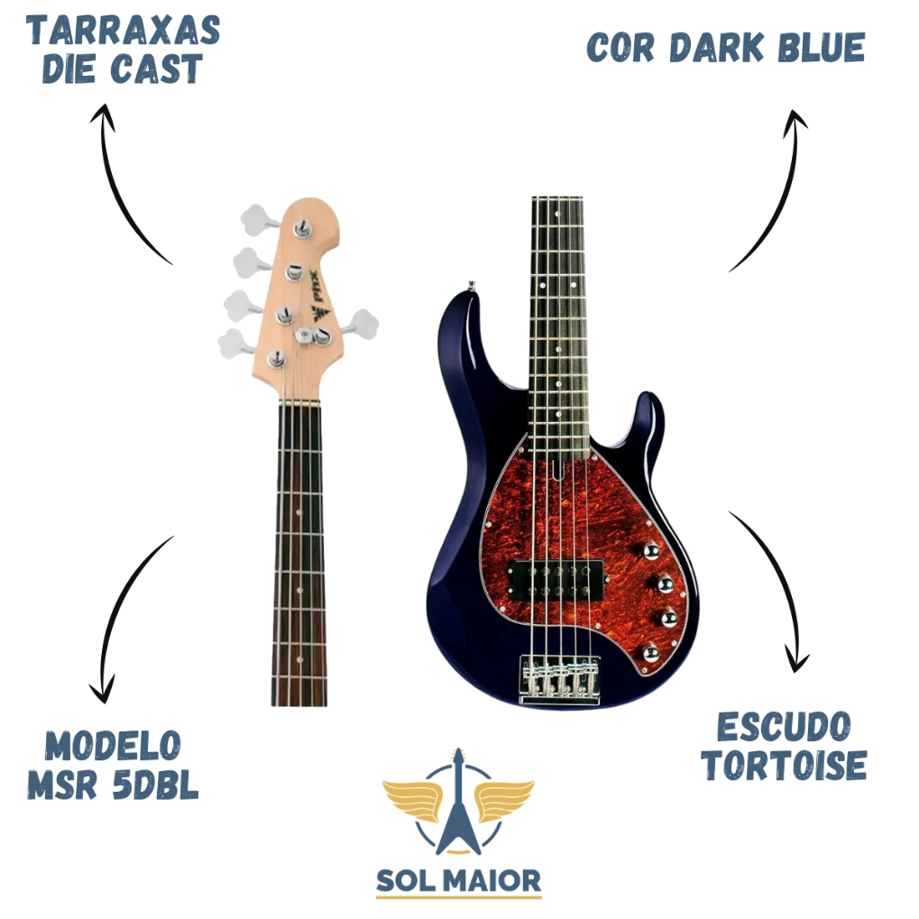 Contrabaixo Baixo Estilo Music Man 5 Cordas Phoenix Msr 5 DBL
