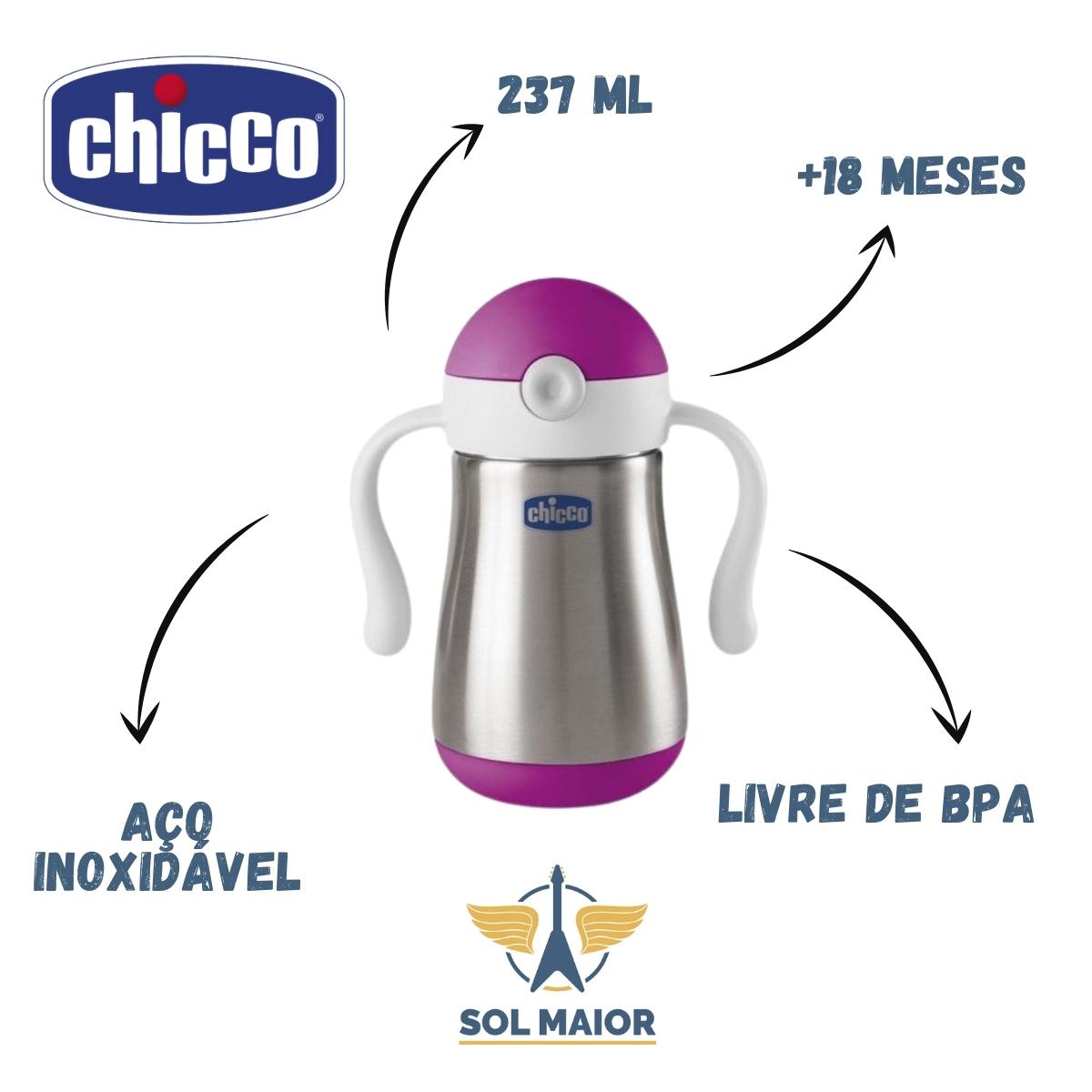 Copo Inox Power Cup Chicco- Rosa 18m+