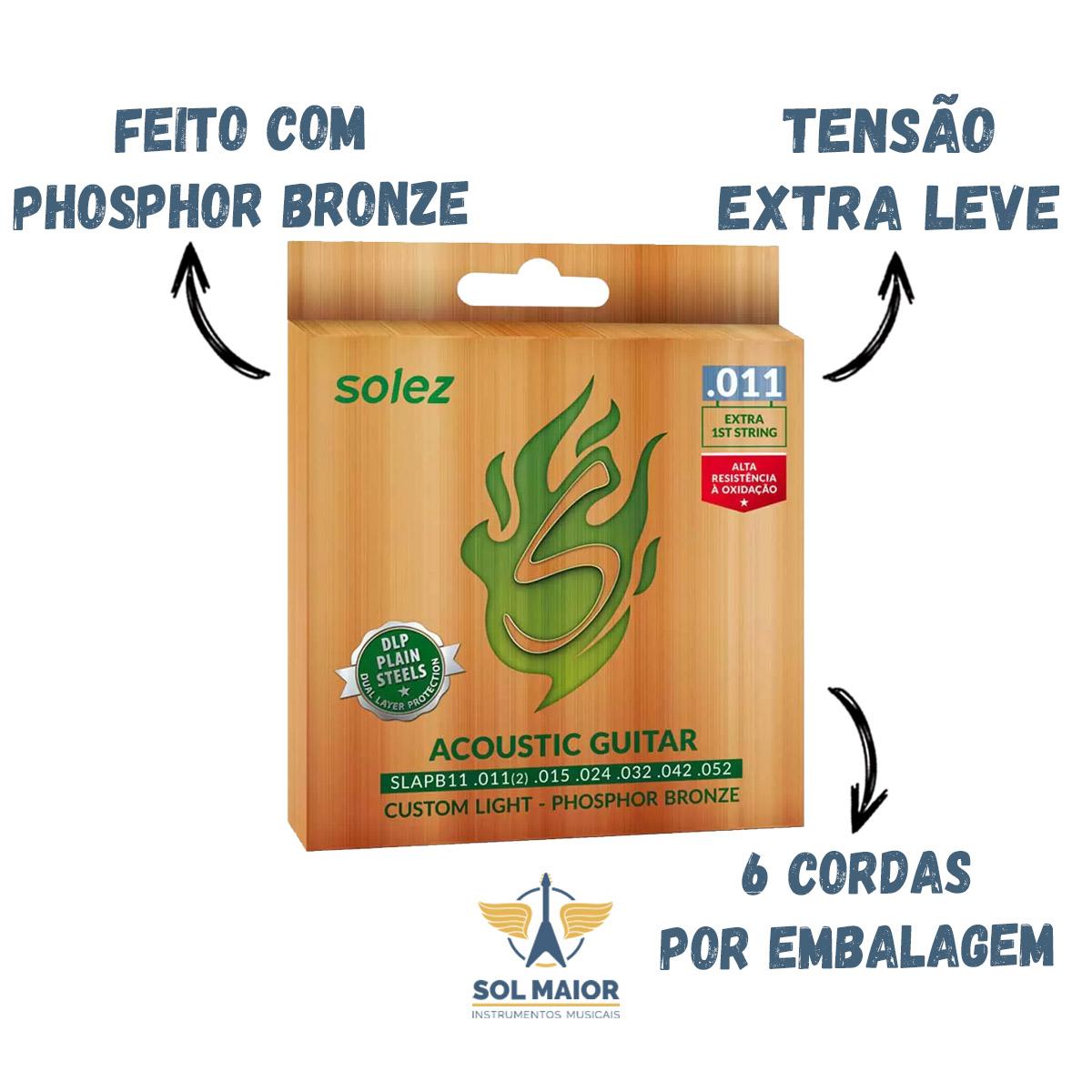 Cordas De Violão Phosphor Bronze 011 Slapb11 - Solez