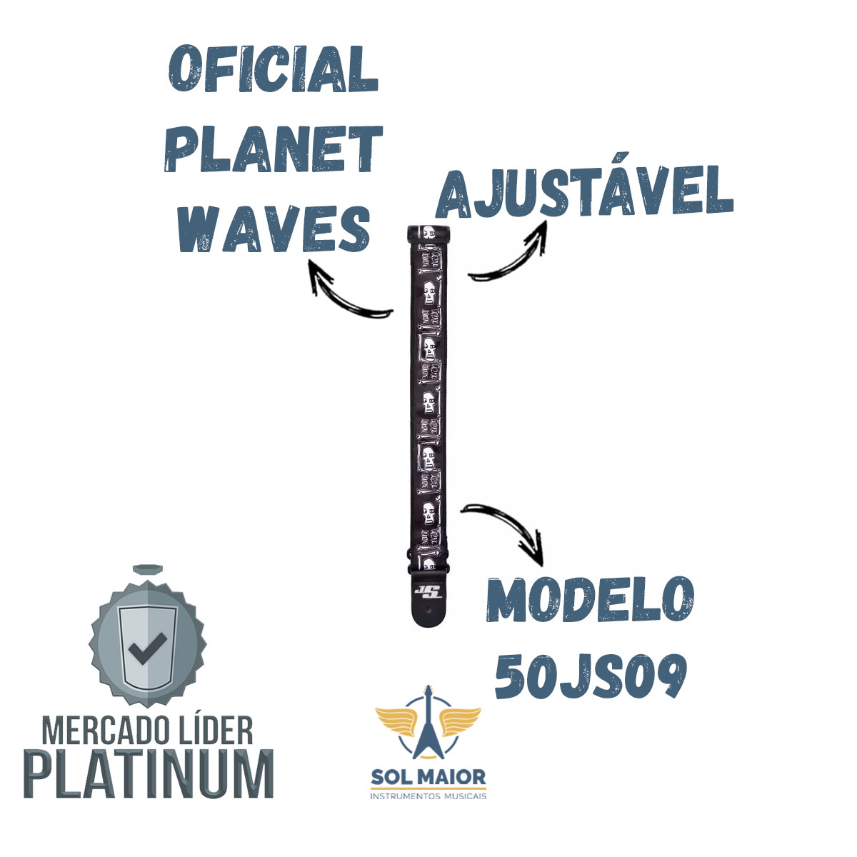 Correia Alça Violão Guitarra 50JS09 Relic Joe Satriani Planet Waves