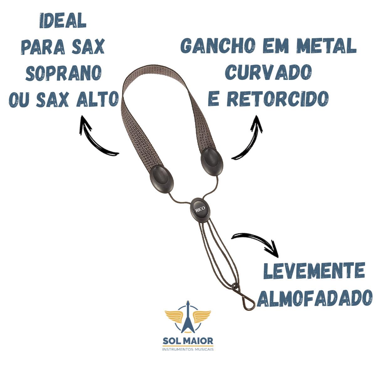 Correia Sax Alto Soprano Rico Sja02 Gancho Metal Industrial