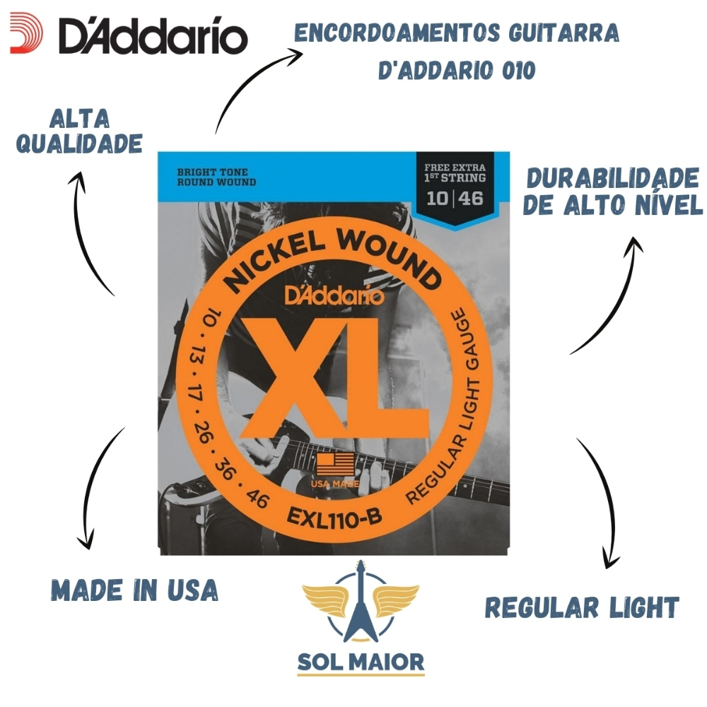 D'addario Encordoamento Para Guitarra Exl110 B 0.10