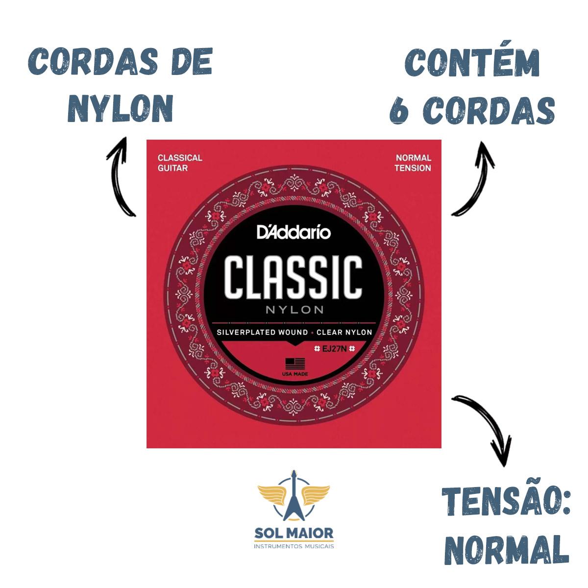 Encordoamento Daddario Violão Nylon Ej27n D'addario Ej27