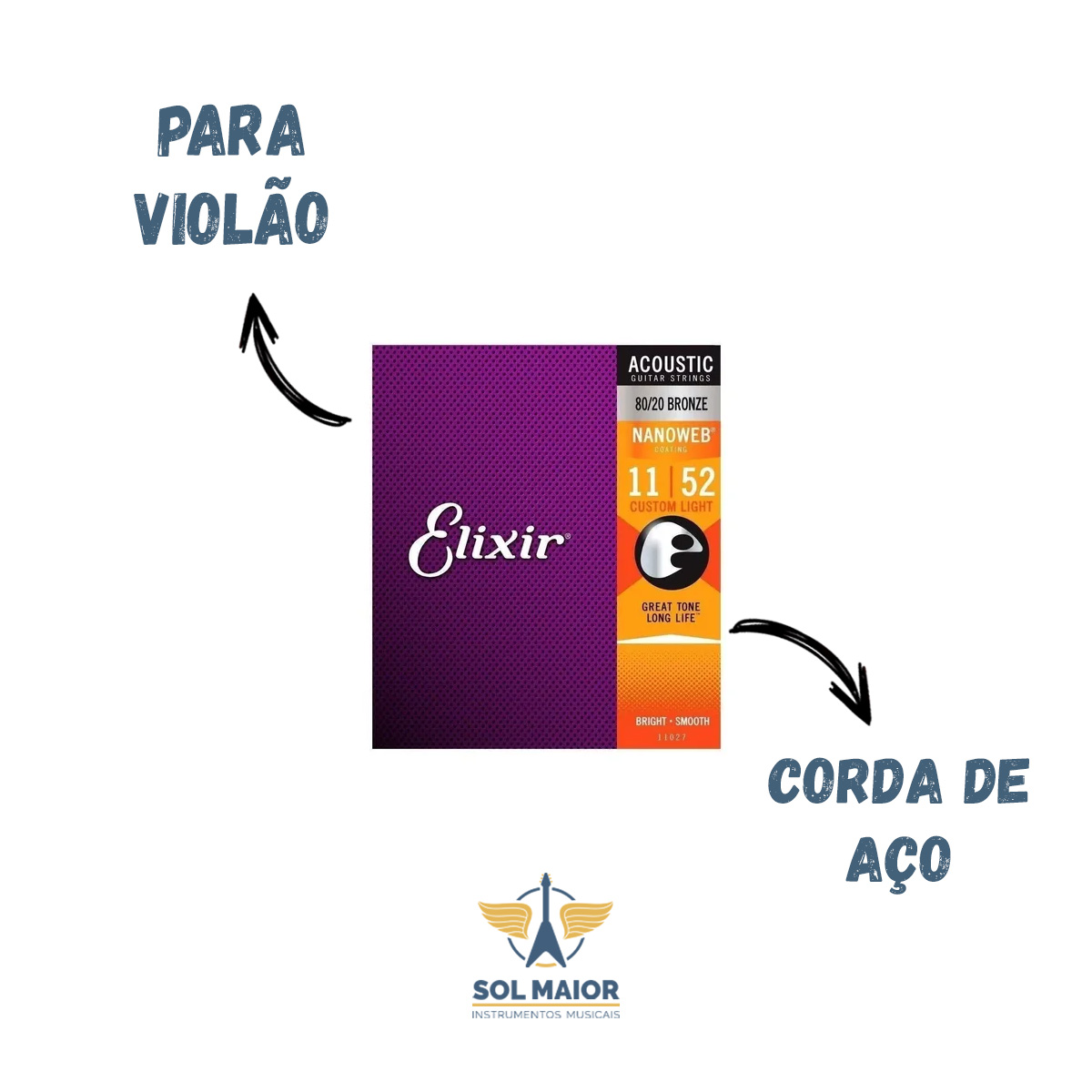 Encordoamento Elixir Violao Custom Light 011 Izzo