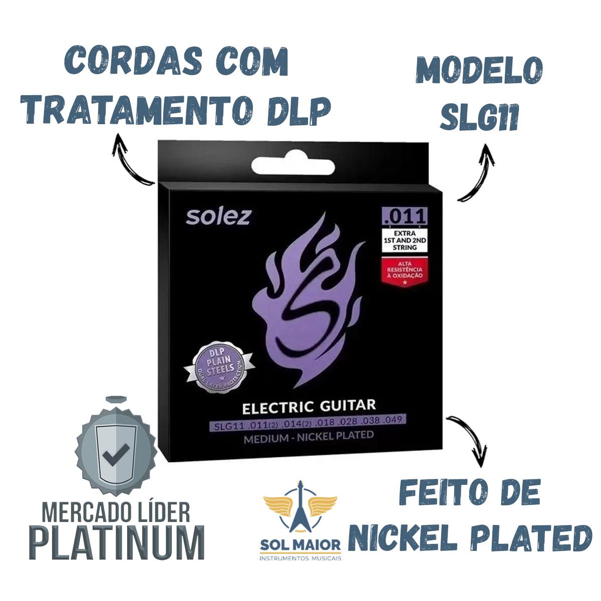 Encordoamento Guitarra Solez .011 Medium Nickel Plated Slg11