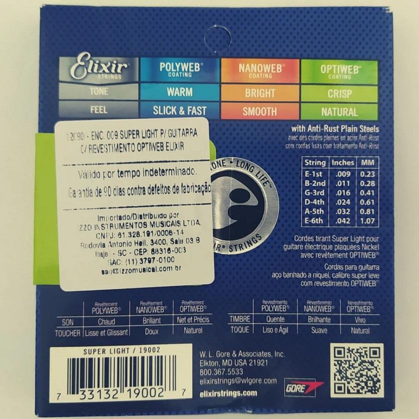 Encordoamento Para Guitarra Elixir 09 Super Light Optiweb 19