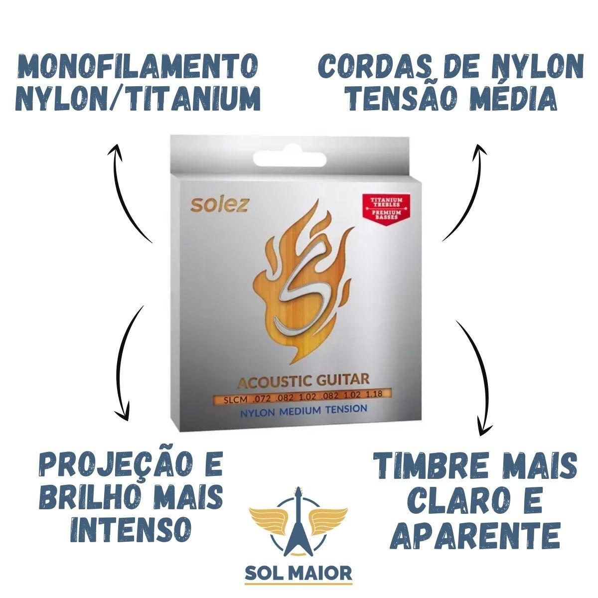 Encordoamento Solez Violão Nylon Tensão Média - SLC M