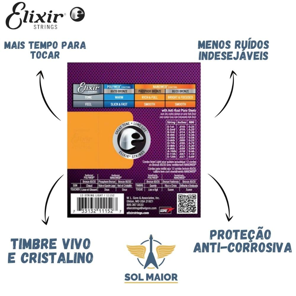 Encordoamento Violão Aço Elixir Nanoweb 80/20 Bronze 012
