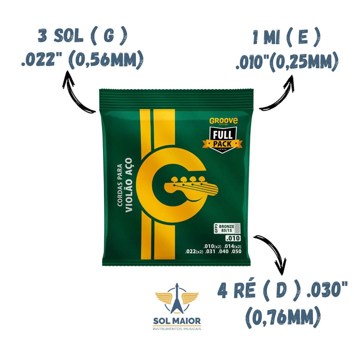 Encordoamento Violão Aço Full Pack Groove .010 Gfp3 - Solez
