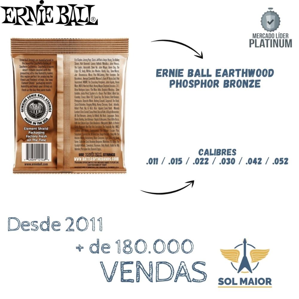 Encordoamento Violão Ernie Ball Phosphor 011 2148 Selo Importadora