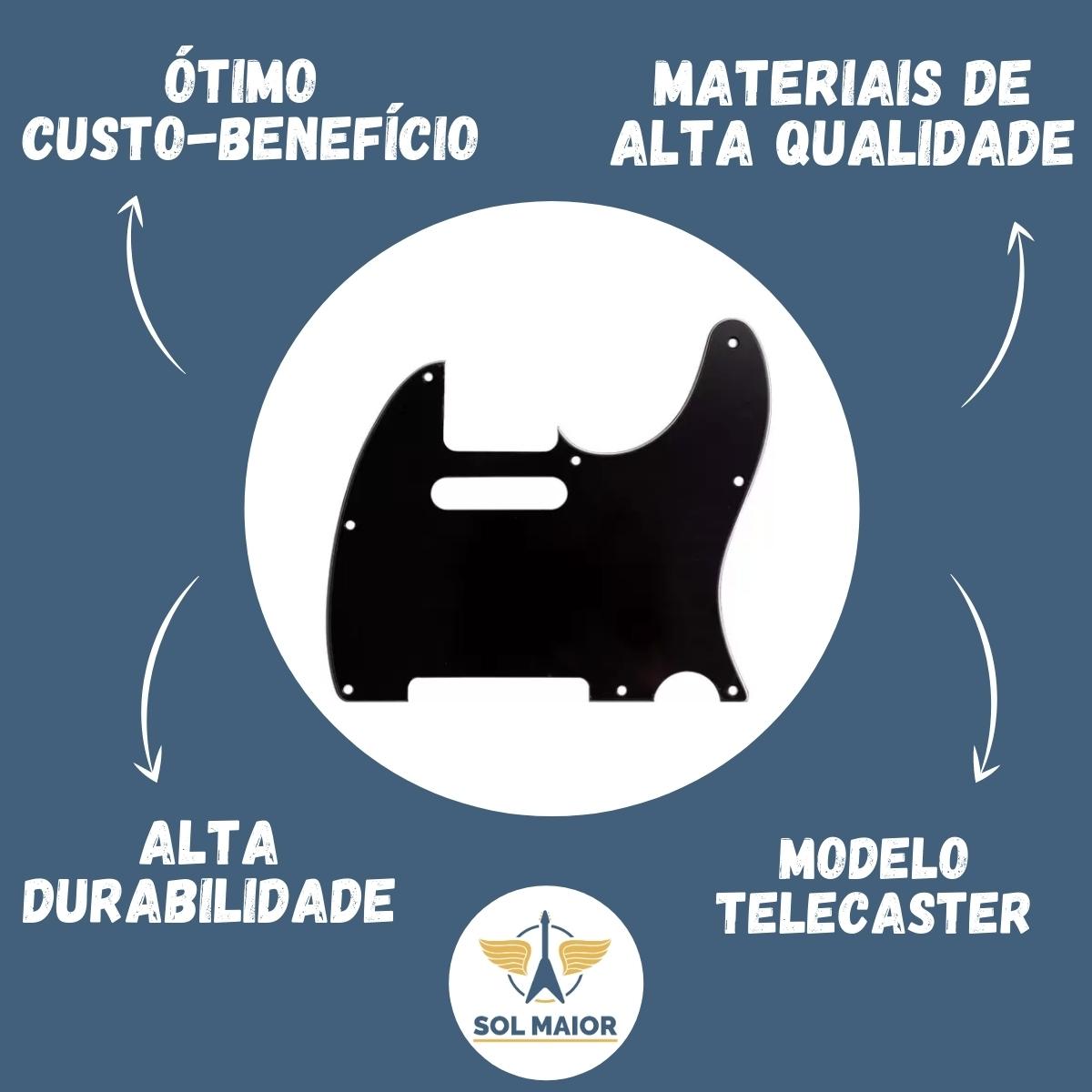 Escudo Para Guitarra Telecaster Preto Spirit 3 Camadas X310