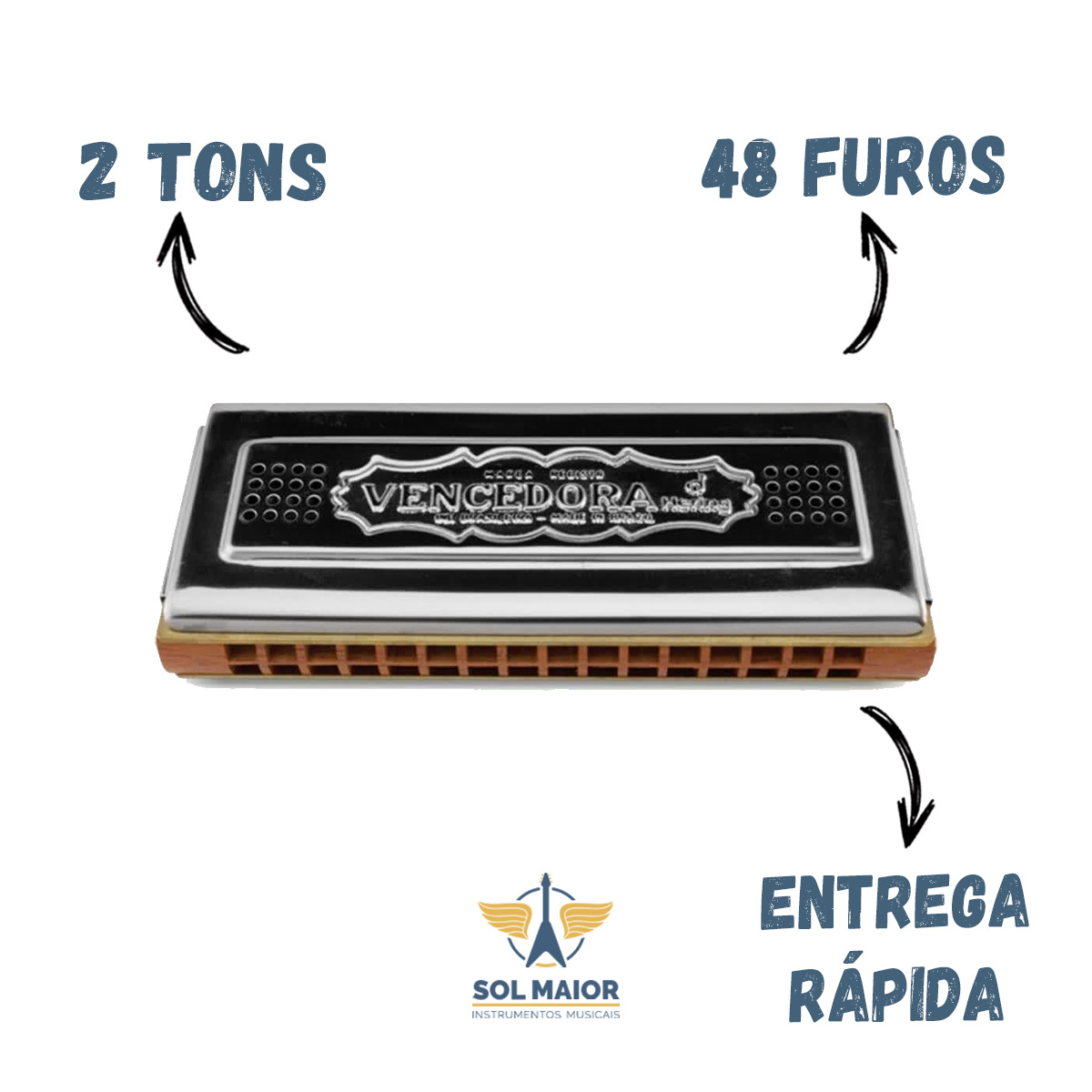 Gaita De Boca Harmonica Hering 7648 Cg Vencedora Dó E Sol