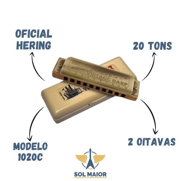 Gaita De Boca Harmônica Hering Vintage Harp 1020c Dó