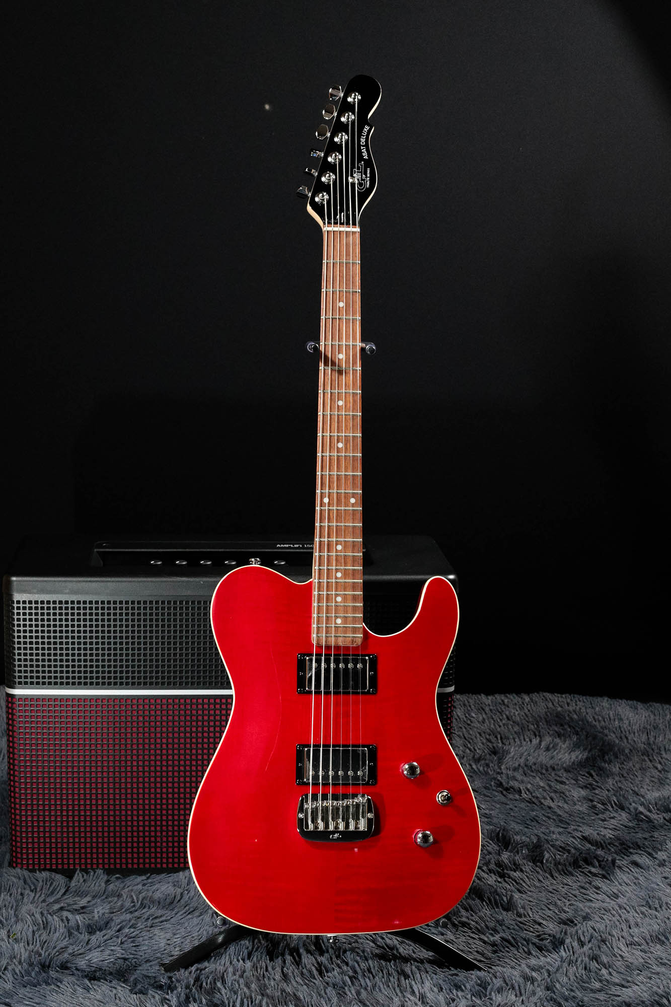 Guitarra G&L Tribute Asat Deluxe Carved Top Trans Red