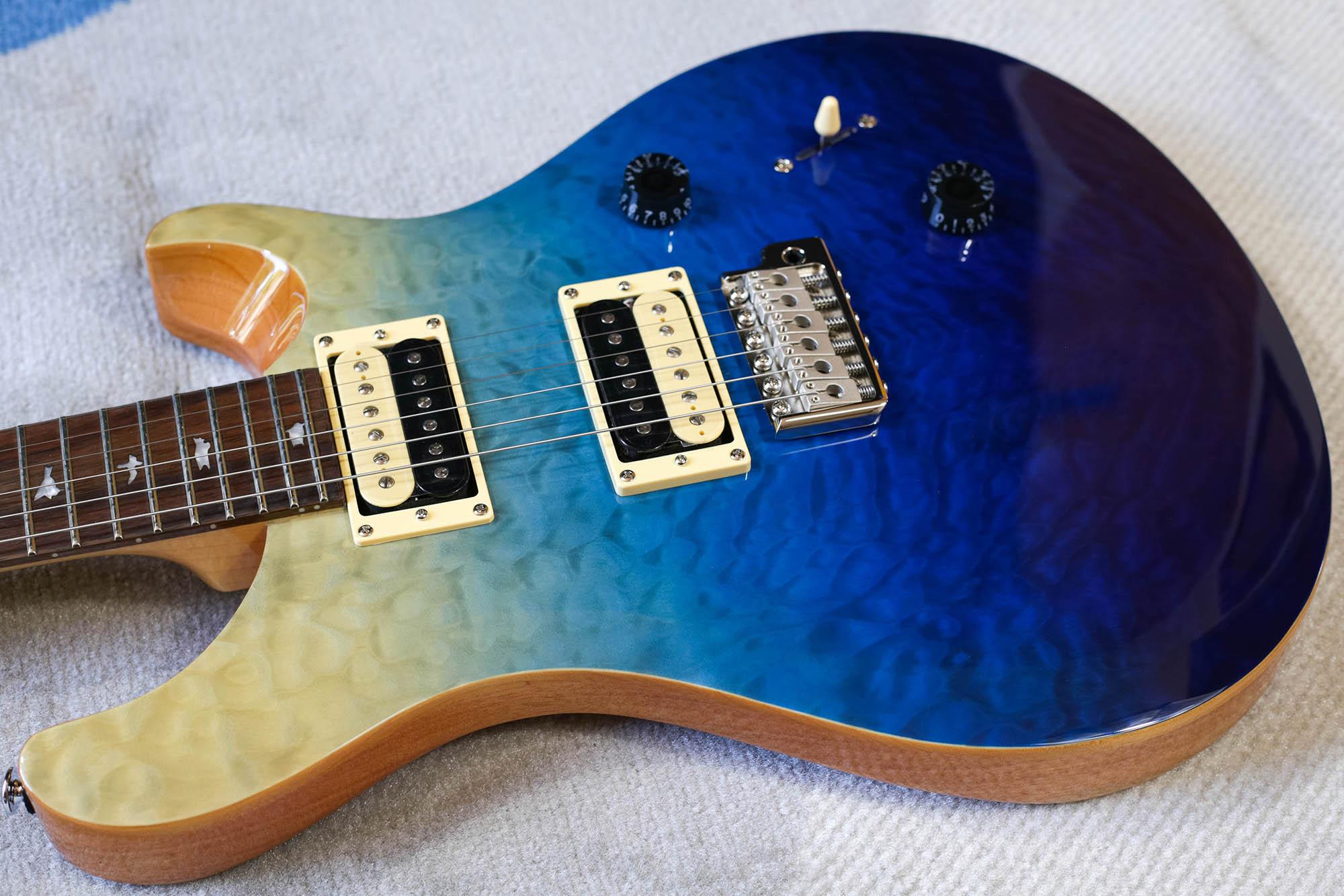 Guitarra PRS CU4Q SE Custom 24 Quilted Top Blue Fade