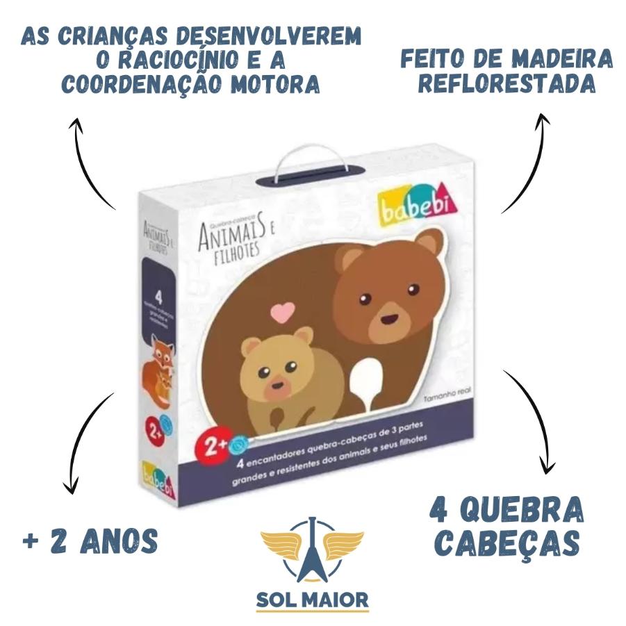 Jogo de Quebra-cabeça de Animais e Filhotes - Babebi 8005
