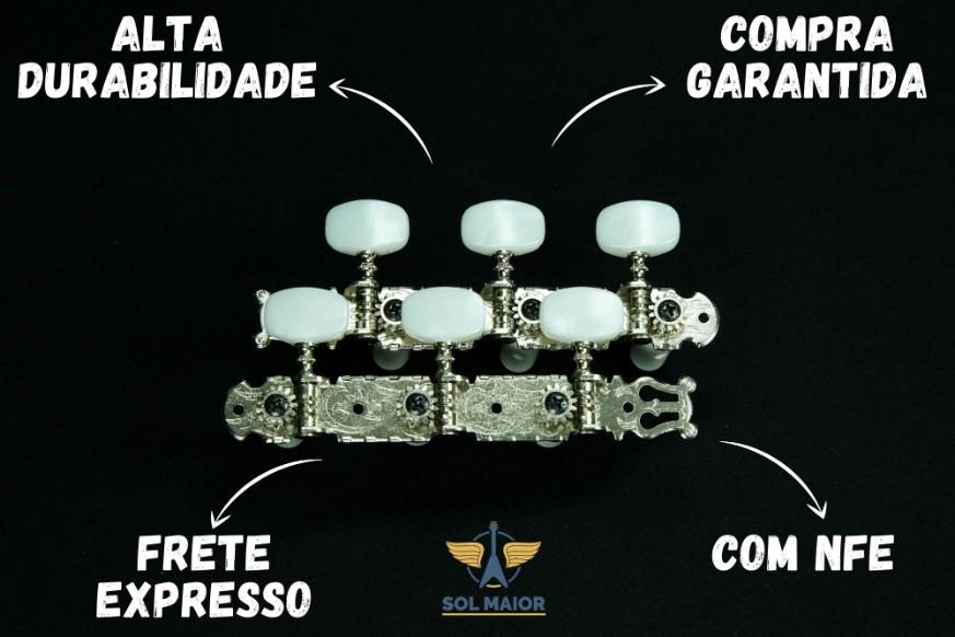 Jogo Tarraxas Gotoh Para Violão 35G350 3+3 - Niquelada
