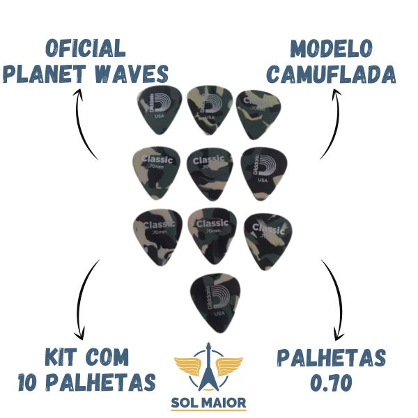 Kit 10 Palheta Planet Waves Daddario 0.70mm Camuflada