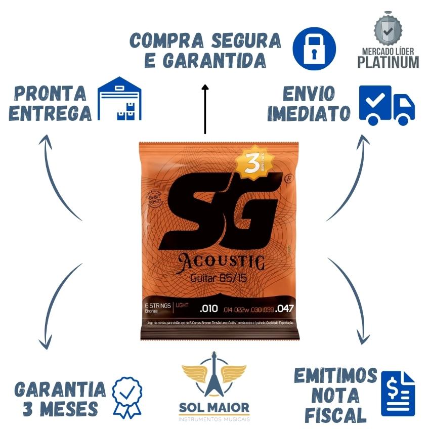 Kit 12 Encordoamento SG Violão 010 Bronze + 4 Mi Extra + 4 Palheta
