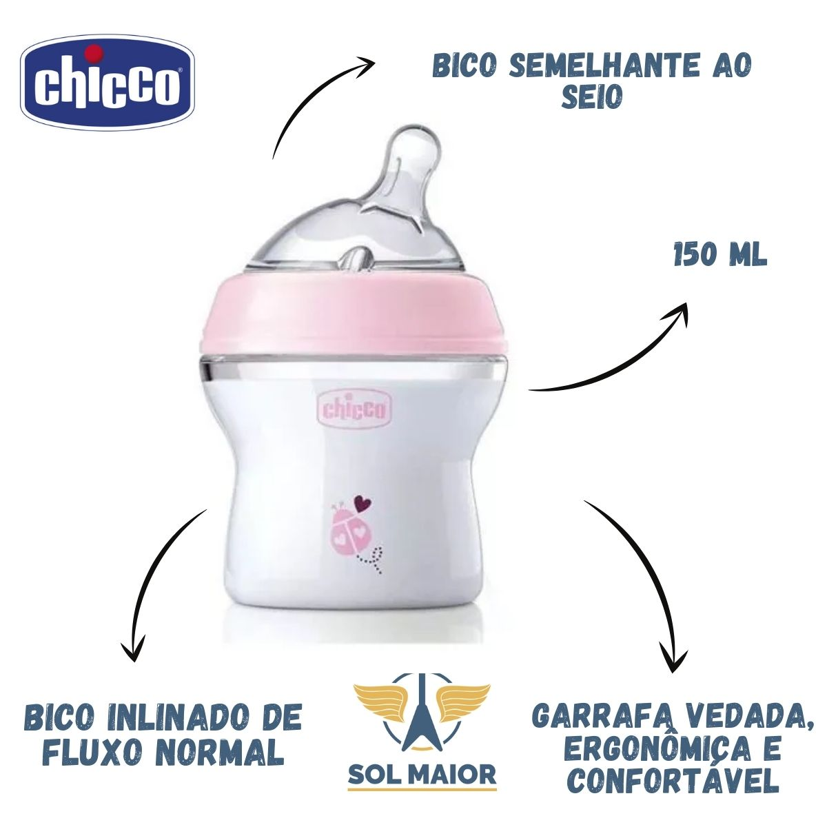 Kit 2 Mamadeira Step Up 150ml Rosa Chicco Original + Nfe