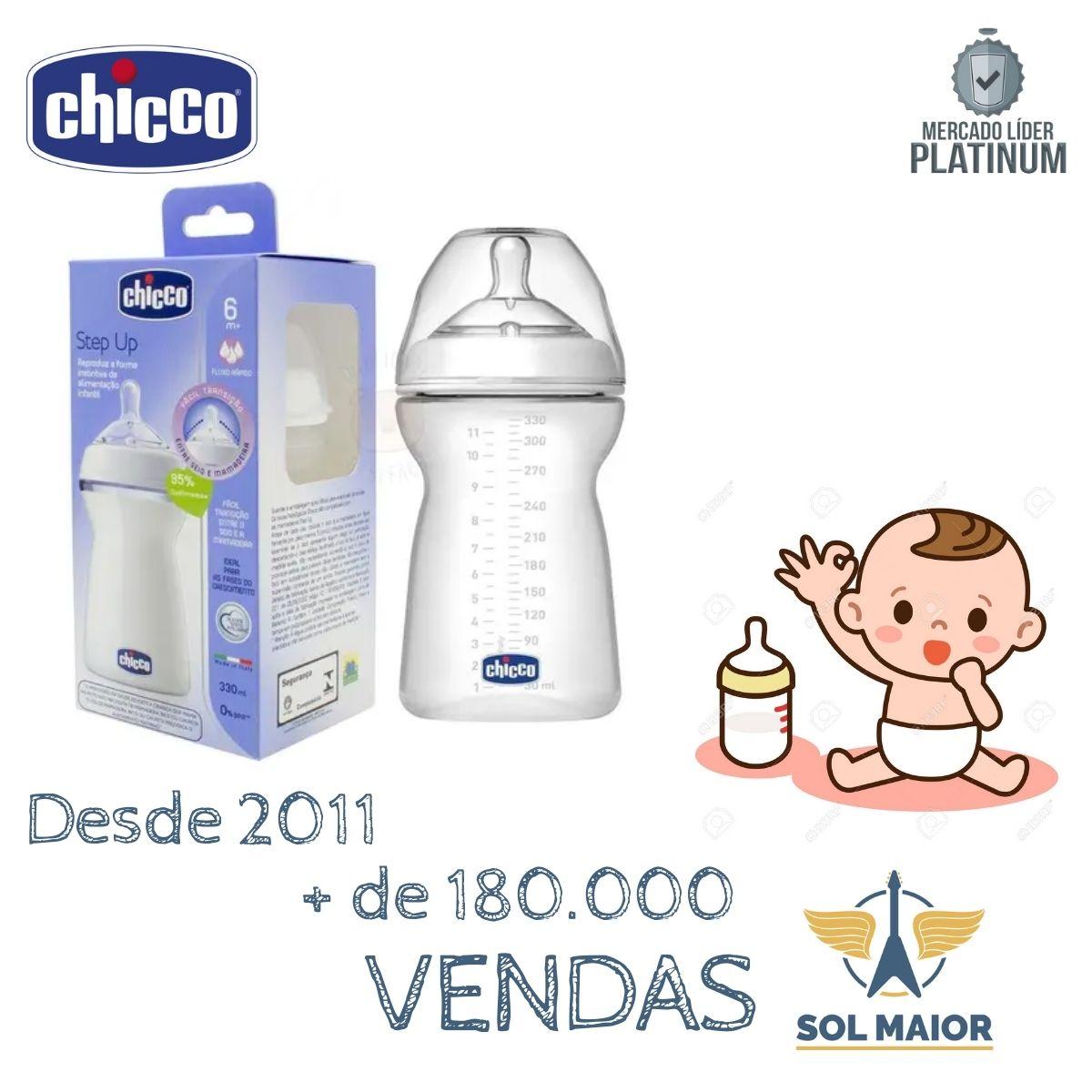 Kit 2 Mamadeiras Step Up 330 Ml Transparente Chicco + 6meses