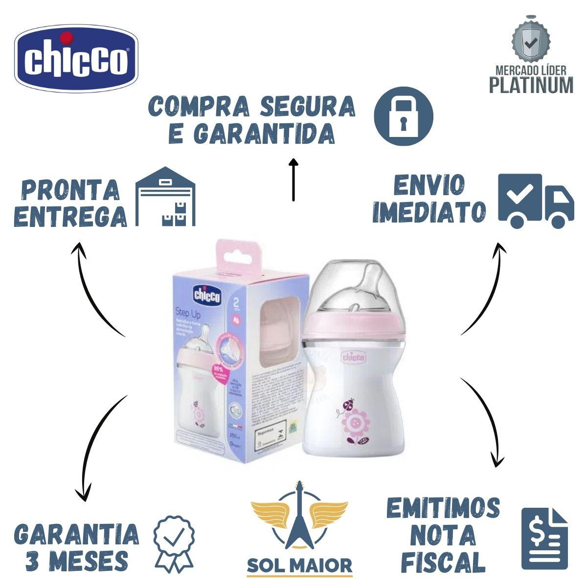 Kit 2 Mamadeiras Step Up Rosa 250 Ml Fluxo Normal - Chicco