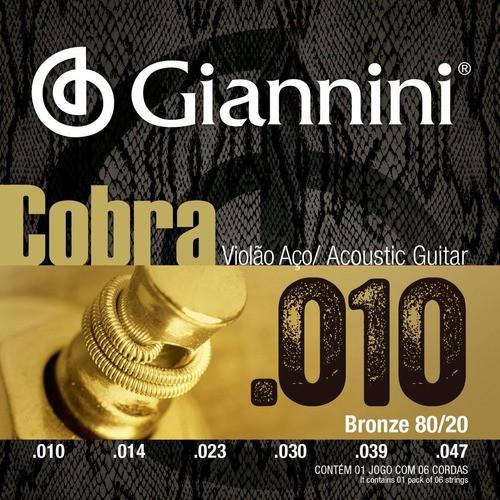 Kit 3 Corda Giannini Violao Aço Bronze 80/20 Extra Light 010