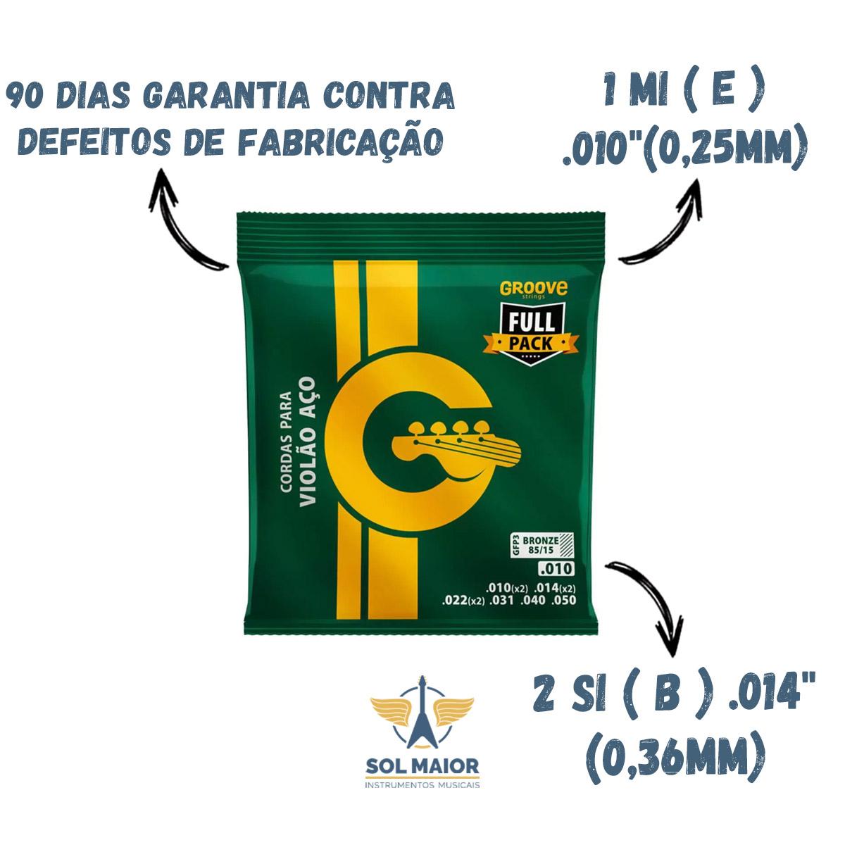 Kit 5 Cordas Groove Violão Aço Full Pack .010 Gfp3 - Solez