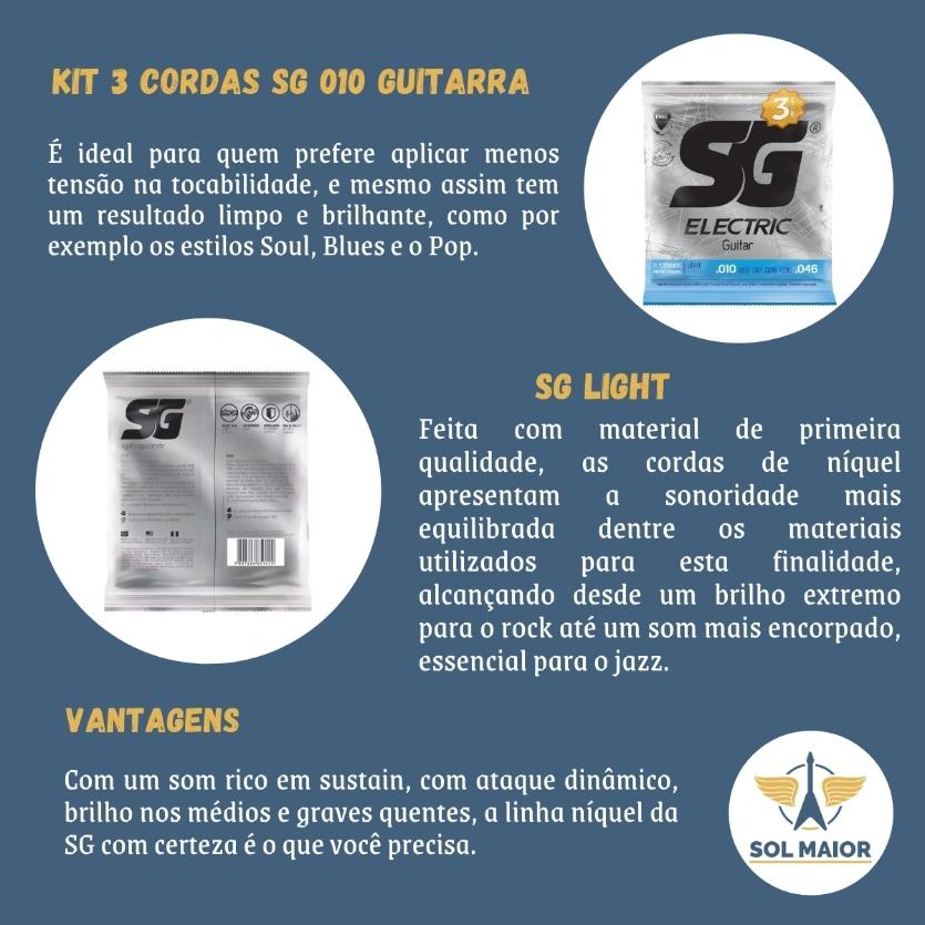 Kit 3 Encordoamento Guitarra Sg 010 046 + Braçadeira Delrin