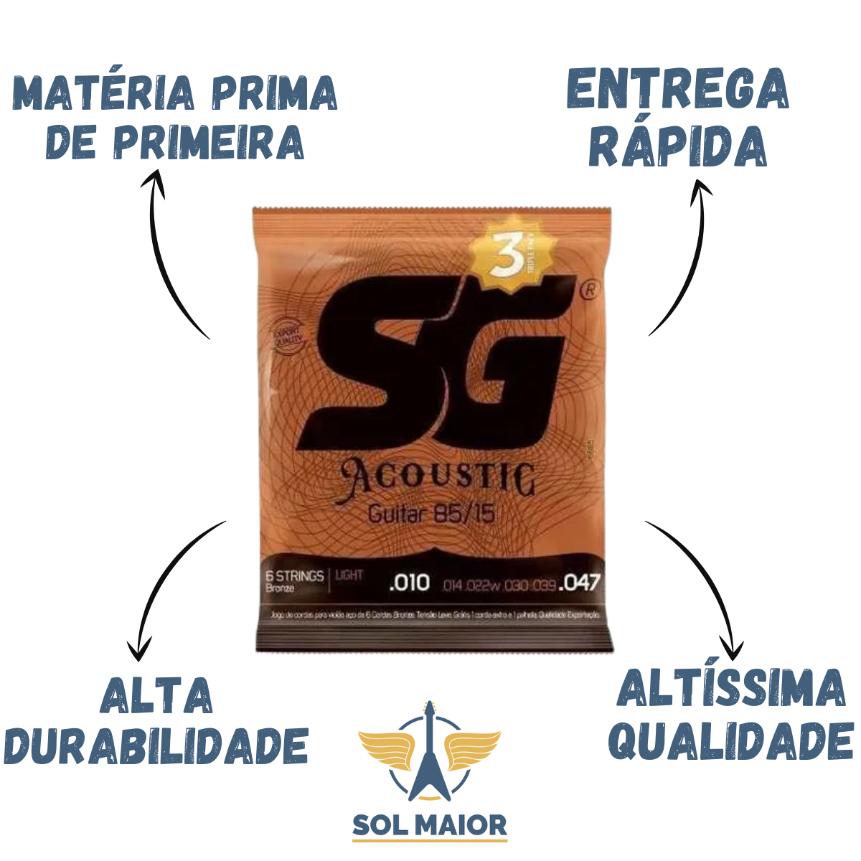 Kit 3 Encordoamento Violão 010 Bronze + 1 Mi Extra + Palheta
