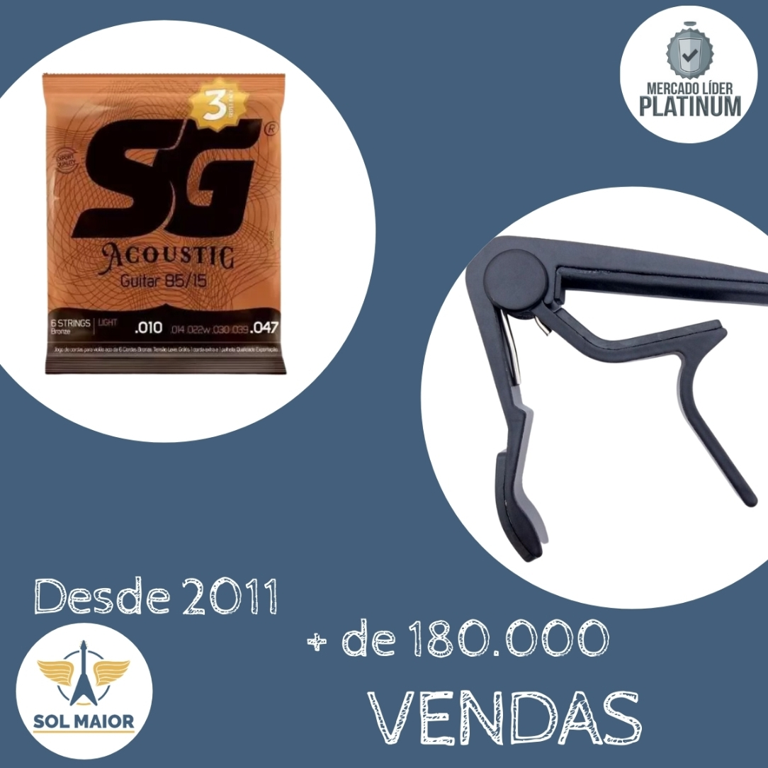 Kit 3 Encordoamento Violão Sg 010 Bronze + Braçadeira Delrin