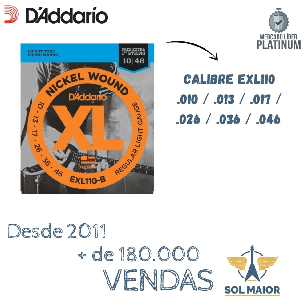 Kit 3 Encordoamentos Daddario Para Guitarra 010 - Exl110 B