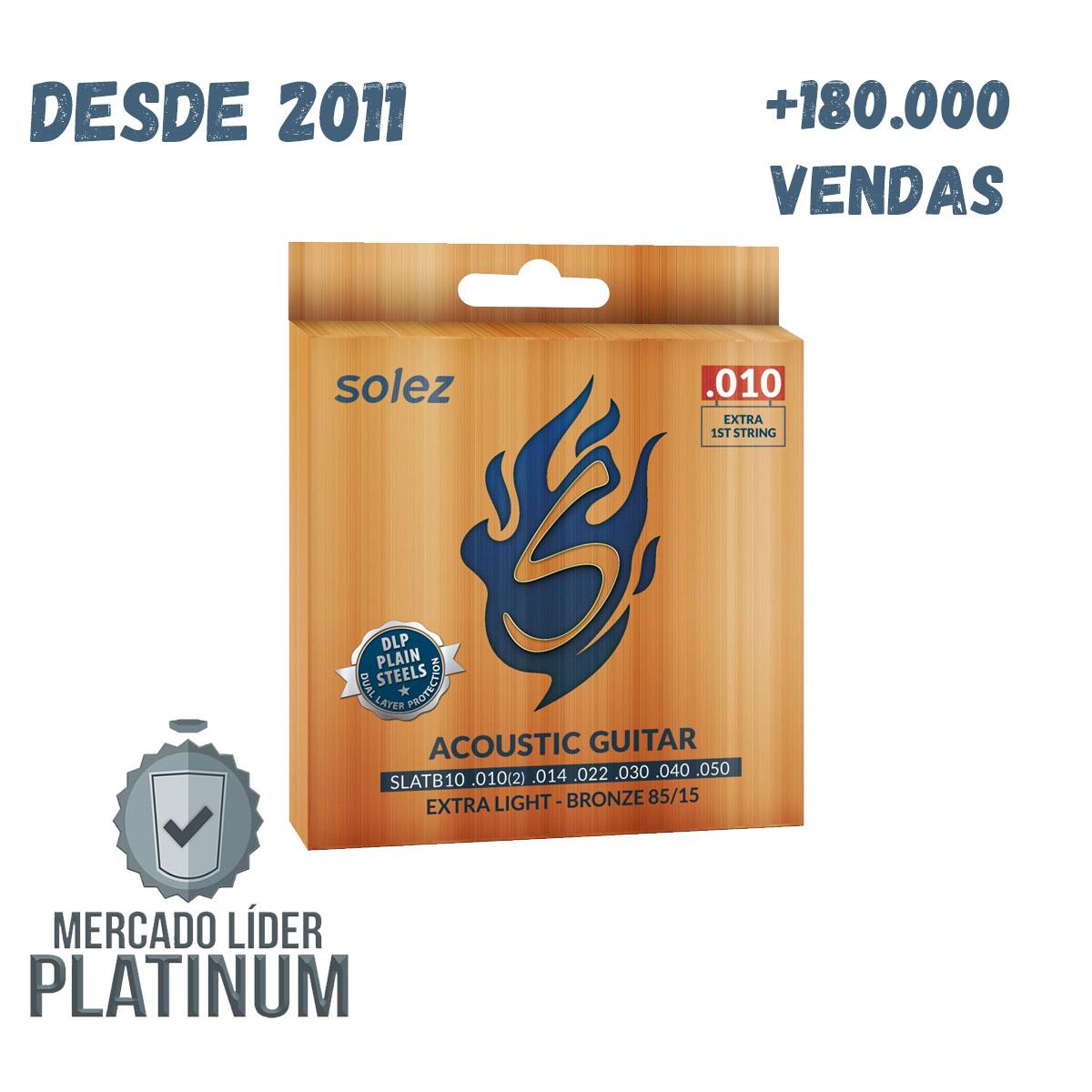 Kit 4 Cordas De Violão Aço 010 Solez Bronze 85/15 - Slatb10