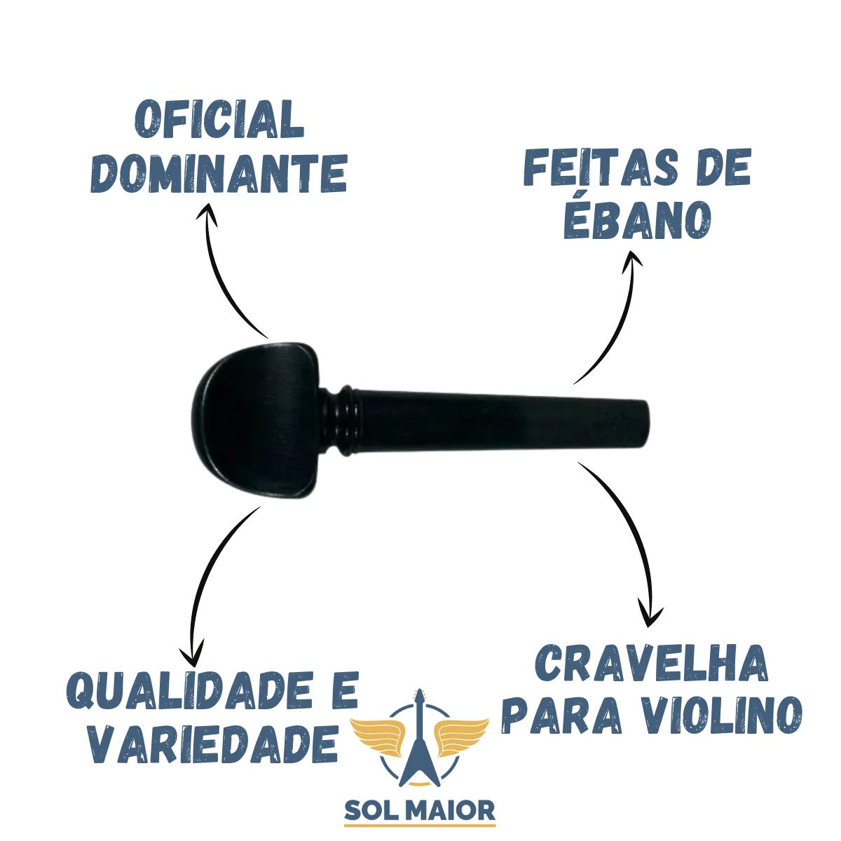Kit 4 Cravelha Dominante Violino 4/4 Ébano olho paris 8333