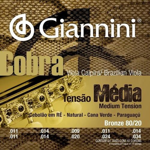 Kit 4 Encordoamento Viola Giannini Cobra Cebolao Em Re Cv82m