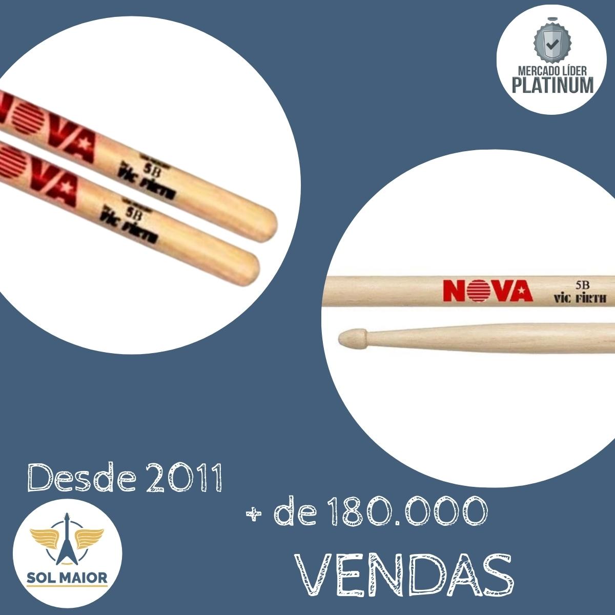Kit 4 Pares Baqueta Nova 5B By Vic Firth American Hickory