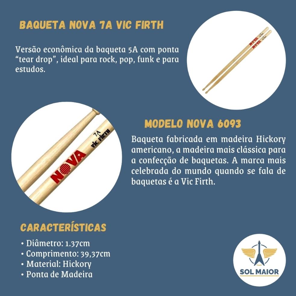 Kit 4 Pares Baquetas Nova By Vic Firth 7a Hickory
