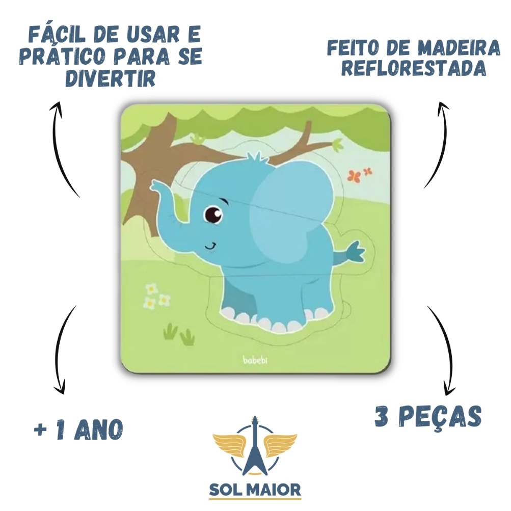 Kit 4 Quebra-Cabeças Baby Animais Brinquedo Educativo Babebi