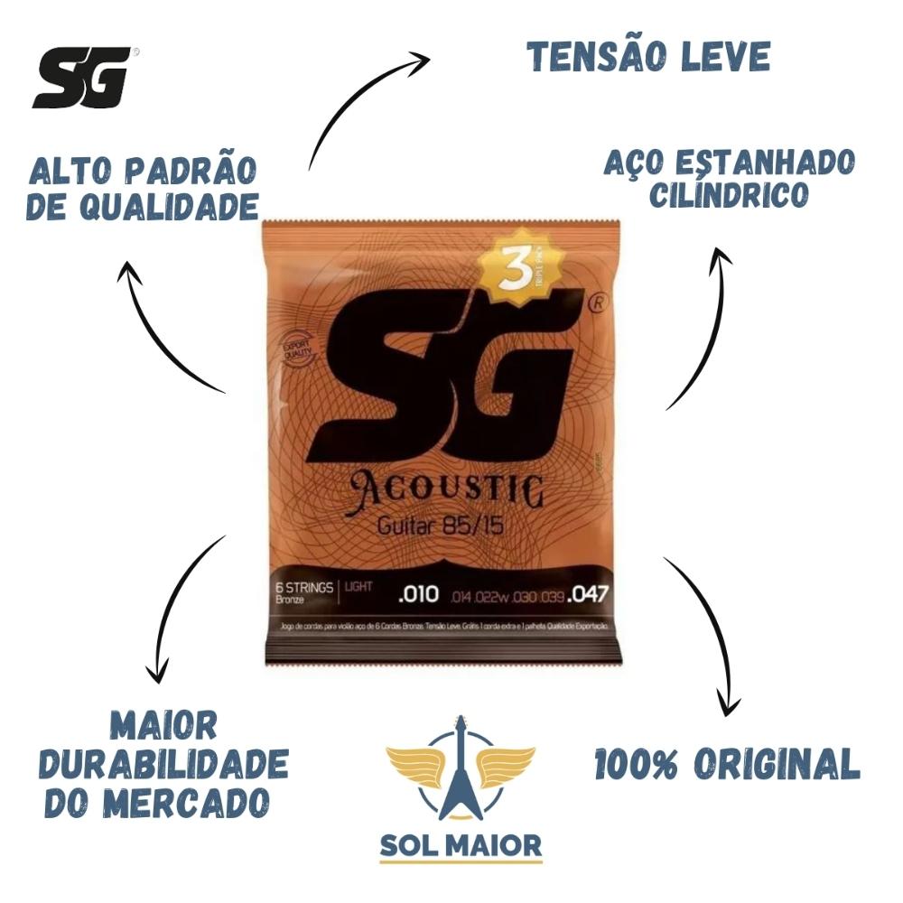 Kit 6 Encordoamento Violão 010 Bronze + 1 Mi Extra + Palheta